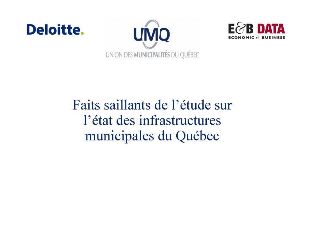 Étude sur l'état des infrastructures au Québec