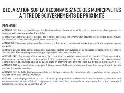 Déclaration sur la reconnaissance des municipalités à titre de gouvernements de proximité