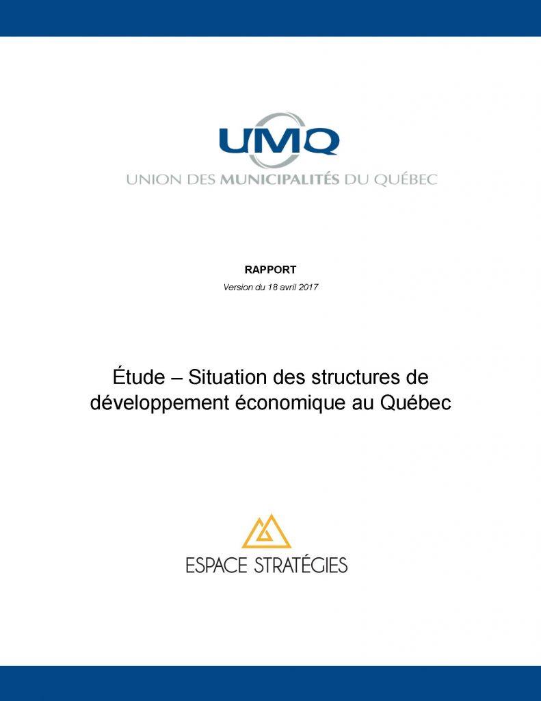 Situation des structures de développement économique au Québec