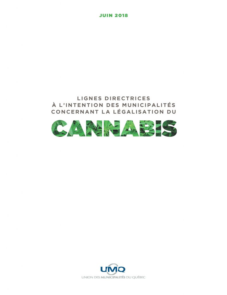 Lignes directrices à l'intention des municipalités concernant la légalisation du cannabis