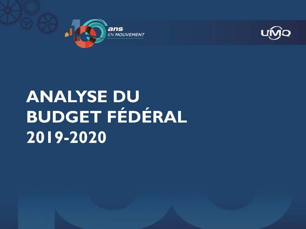 Analyse du budget fédéral 2019-2020