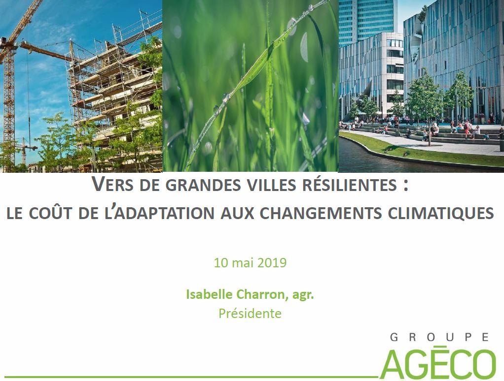 Vers de grandes villes résilientes : le coût de l'adaptation aux changements climatiques (rapport final)