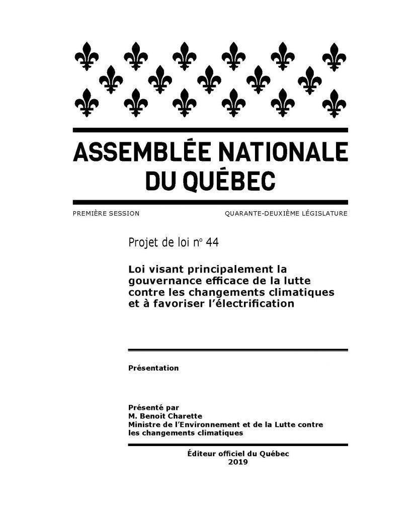 Projet de loi n°44, Loi visant principalement la gouvernance efficace de la lutte contre les changements climatiques et à favoriser l'électrification