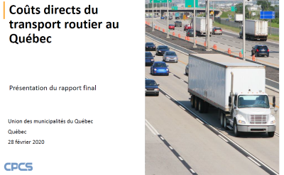 Coûts directs du transport routier au Québec