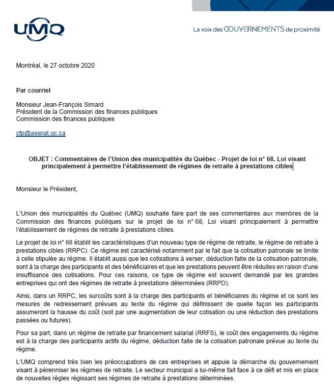 Commentaires de l'Union des municipalités du Québec – Projet de loi n° 68, Loi visant principalement à permettre l'établissement de régimes de retraite à prestations cibles